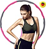 Weighted Hula Hoop Adult 1.2kg Wavy Design Soft Foam Covered, 6-8-section Detachable Adjustable Slimming Set, for Waist Training Adults Exercise Weight Loss Keep fit, Kids for fun Home Workout