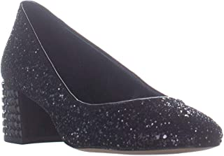 MICHAEL Michael Kors Womens Arabella Glitter Dress Pumps Black 7.5 Medium (B,M)