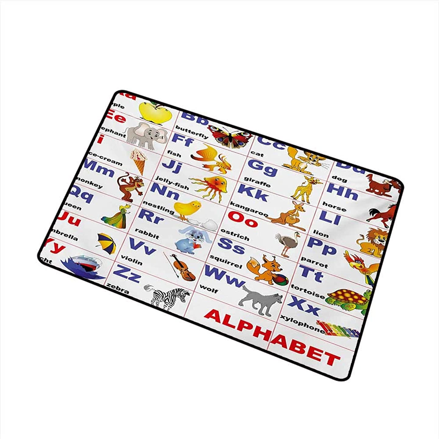 Becky?W?Carr Educational Welcome Door mat Animals Placed on Letter of The Alphabet Teachers Chart Classroom Kindergarten Door mat is odorless and Durable W15.7 x L23.6 Inch,Multicolor