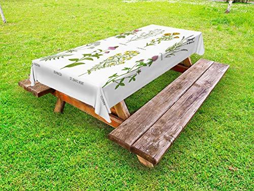ABAKUHAUS Kraut Outdoor-Tischdecke, Naturkosmetik Blumen, dekorative waschbare Picknick-Tischdecke, 145 x 265 cm, Mehrfarbig