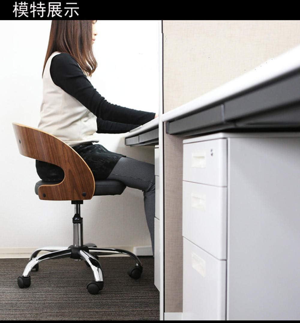 JIESIQ Chaise pivotante d'ordinateur,Chaise de Bureau à Domicile avecinulie à Cinq Pieds,Chaise en Bois d'étudiant avec Dossier,Hauteur réglable,Coussin en Cuir PU-Une A