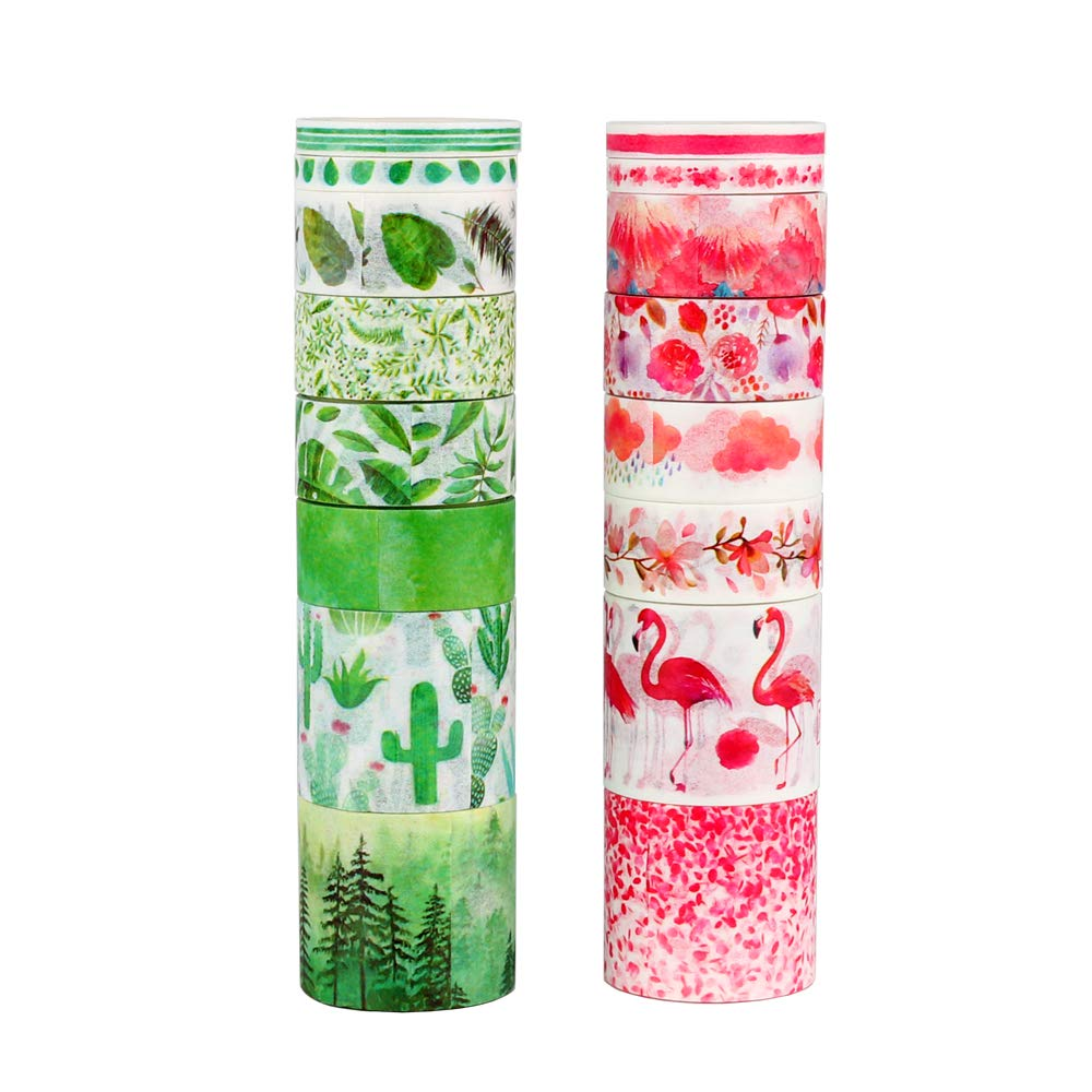 Molshine 16rolls(Length 3m/roll) Washi Masking Tape Set,Adhesive Paper,Crafts Tape for DIY,Planners,Scrapbook,Object Decorative,Collection,Gift Wrapping (Green/Red)