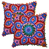 Stylo Culture Cotton Decorative Floral Settee Couch Diwan Cushion Covers 40 by 40 cm Set of 2 Pc Pink Red Embroidered Suzani Work Festive Decoration Pom Pom Ethnic Square 16 Inch x 16 Inch