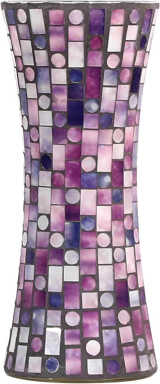 FORYILLUMI Mosaic GlassFlowerVase Large Size Handmade Glass Glass Vases Plant Pots Ceramic Vase for Living Room Decorations, Home Decor, Office, Wedding,Purple,5 X 11.6 Inch