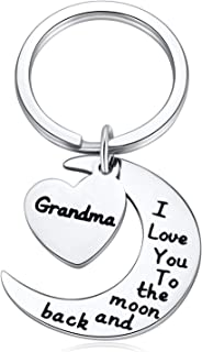 Grandma Gifts from Ggranddaughter - I Love You to The Moon and Back Keychain for Grandmother Mother's Day Grandparents Gifts from Grandchildren Grandson