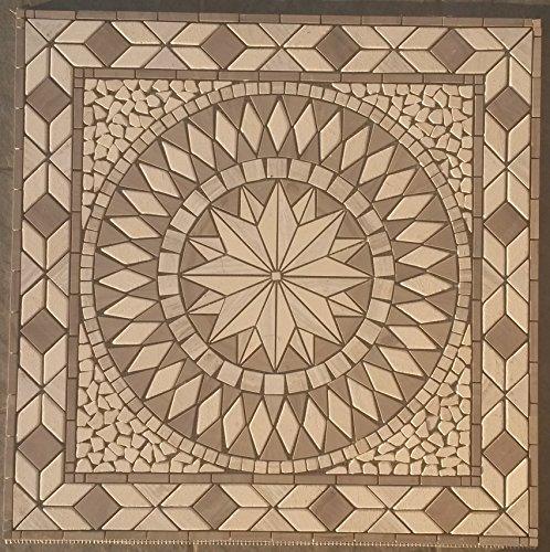 Marmor Rosone 67x67 cm Grau Beige Naturstein Windrose Mosaik Fliesen 056