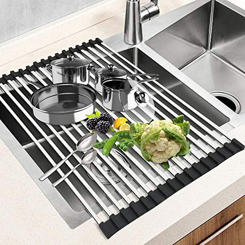 Dish Drying Rack 17.5' x 15', G-TING Over Sink Roll Up Large Dish Drainers Rack, Multipurpose Foldable Kitchen Sink Rack Mat Stainless Steel with Silicone Rims for Dishes, Cups, Fruits Vegetables