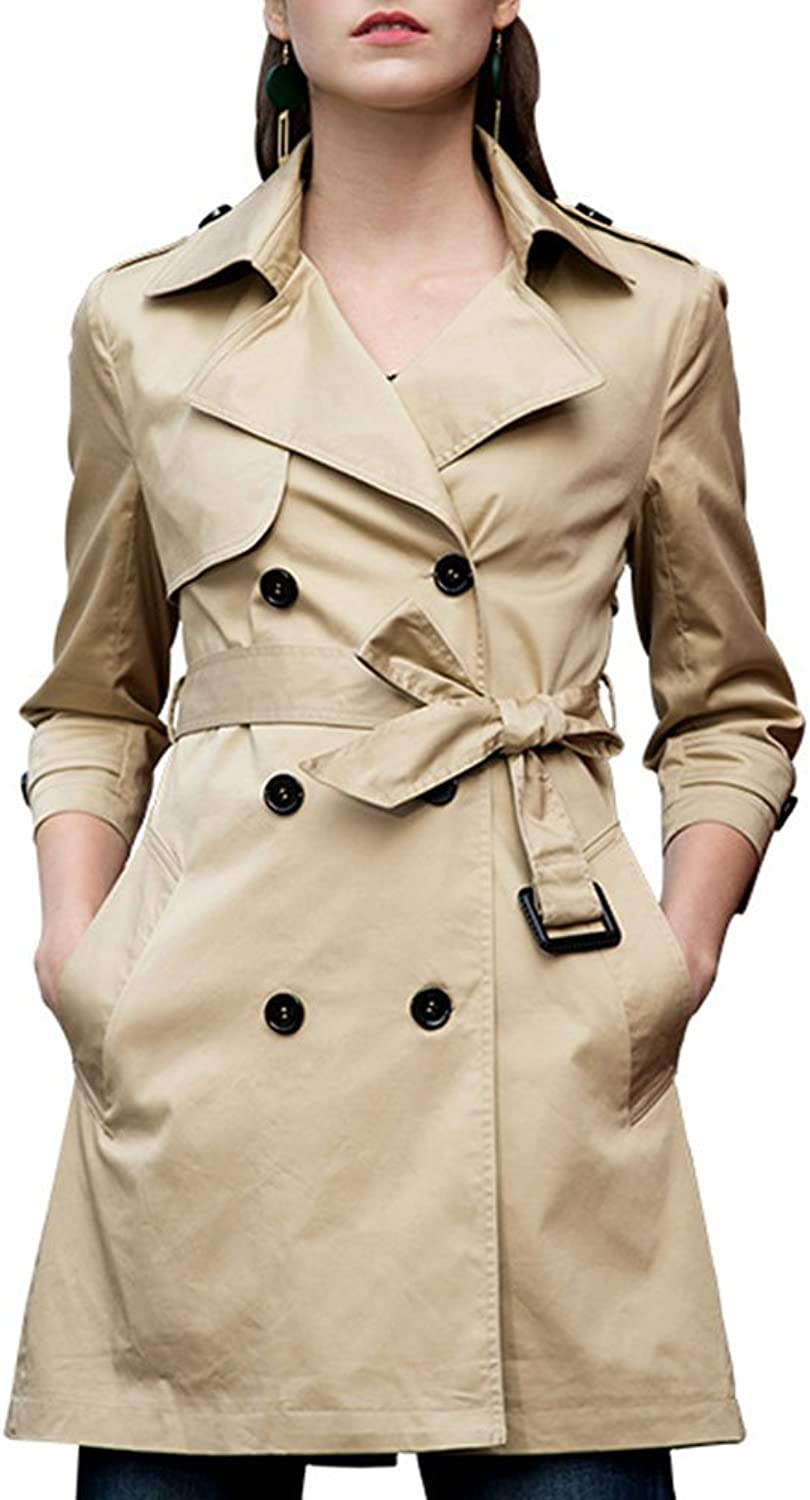 HIENAJ Women's 3 4 Sleeve Trench Coat Double Breasted Notched Lapel Coat with Belt