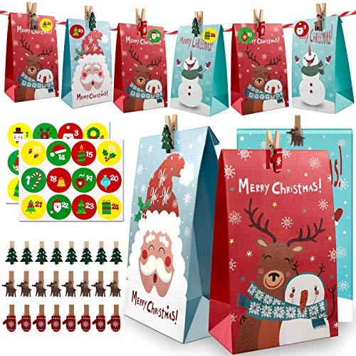 Huker 24 Adventskalender zum Befüllen, Weihnachtskalender Selber Basteln für Kinder, Adventskalender Tüten mit 24 Adventszahlen, Weihnachten Geschenksäckchen, Geschenk Papiertüten, Kraftpapiertüten