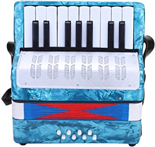 Accordion, Mini Small 17-Key 8 Bass Accordion Educational Musical Instrument Toy for Beginner Early Childhood Teaching(Navy Blue)