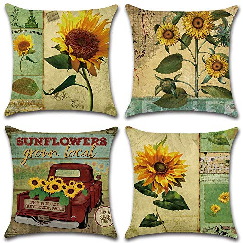 WSMLA Pillow Cover Set of 4 Summer Sunflowers Daybed Pillow Throw Pillow Cover Chair Back Pillow Small Decor Pillow Cushion Case Square Pillowcase Home Decorative Sofa Couch Car 18' X 18';