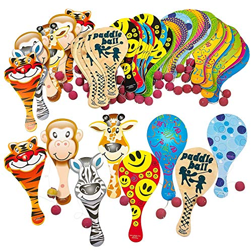 Kicko 9 Inches Paddle Ball Assortment, 50 Pack - Party Favors - Prizes for Children Games or Adults - Colorful Assortments May Vary