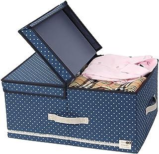 Double Compartiment Vêtements Boîte De Rangement Avec Couvercle De Coffre Tissu Boîte De Finition Avec Poignée Grande Plia...