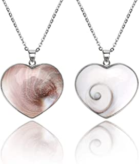 Heart Shiva Third Eye Pendant Necklace Natural Shell Reversible Jewelry Charms for Women Man