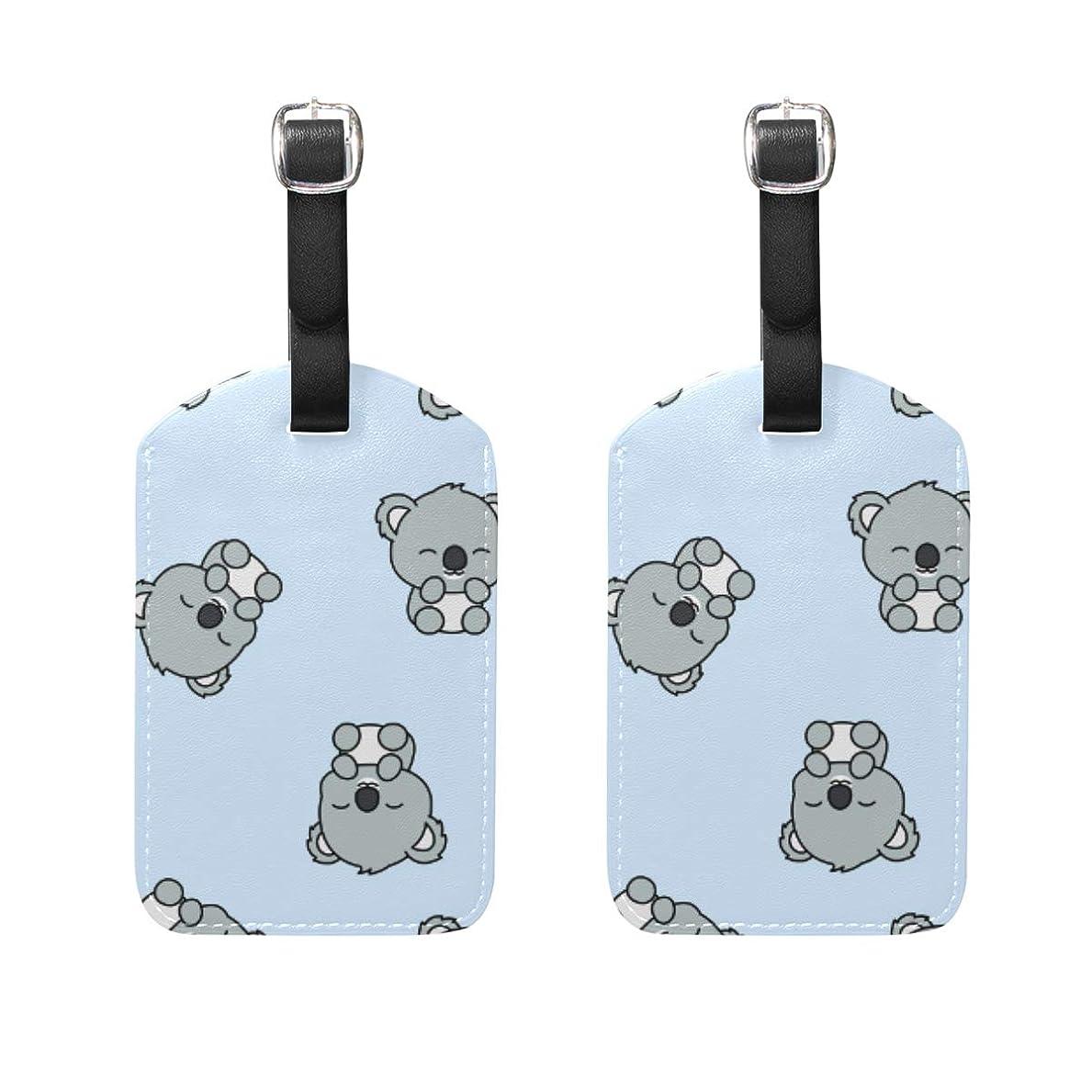 よく話される認知爆発するバッグ用ネームタグ ネームタグ 可愛い コアラ 漫画 パターン 荷物タグ ラゲージタグ かわいい おしゃれ 旅行用 スーツケースタグ PUレザー 2枚入 個性