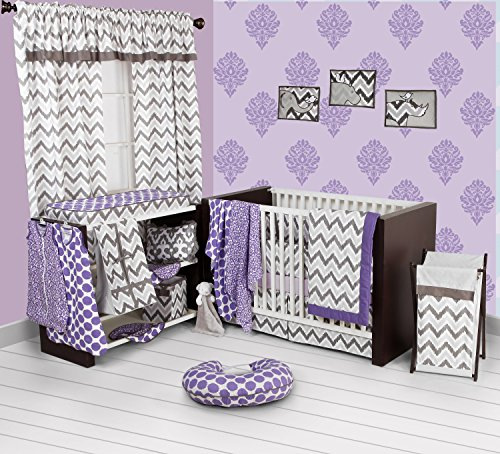 Bacati - Purple/Grey Ikat Chevron Muslin 10 Pc Crib Set with Bumper Pad