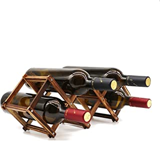 Wooden Wine Rack Small Wine Bottle Stand Holder Storage Free Standing Folding Wooden Racks Countertop Table Organizer - Carbonized Wood, 5 Slot