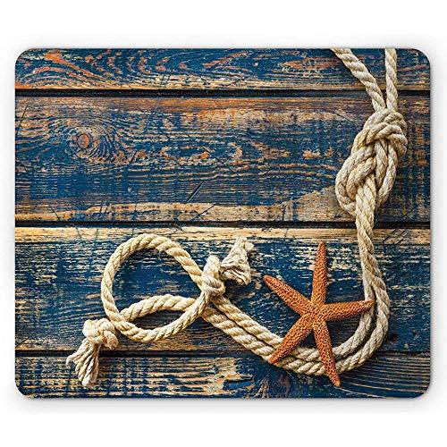 Marien touw en zeester op oude houten planken beeld, antislip rubberen muismat, 25x30cm nacht blauwe barnsteen en beige