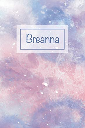 Breanna: First Name Personalized Notebook, College Ruled (Lined) Journal, Cute Pastel Notepad with Marble Pattern for Girls, Teens and Women