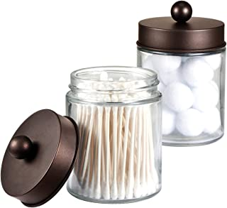 Apothecary Jars Bathroom Storage Organizer - Cute Qtip Dispenser Holder Vanity Canister Jar Glass with Lid for Cotton Swabs,Rounds,Bath Salts,Makeup Sponges,Hair Accessories/Bronze (2 Pack)