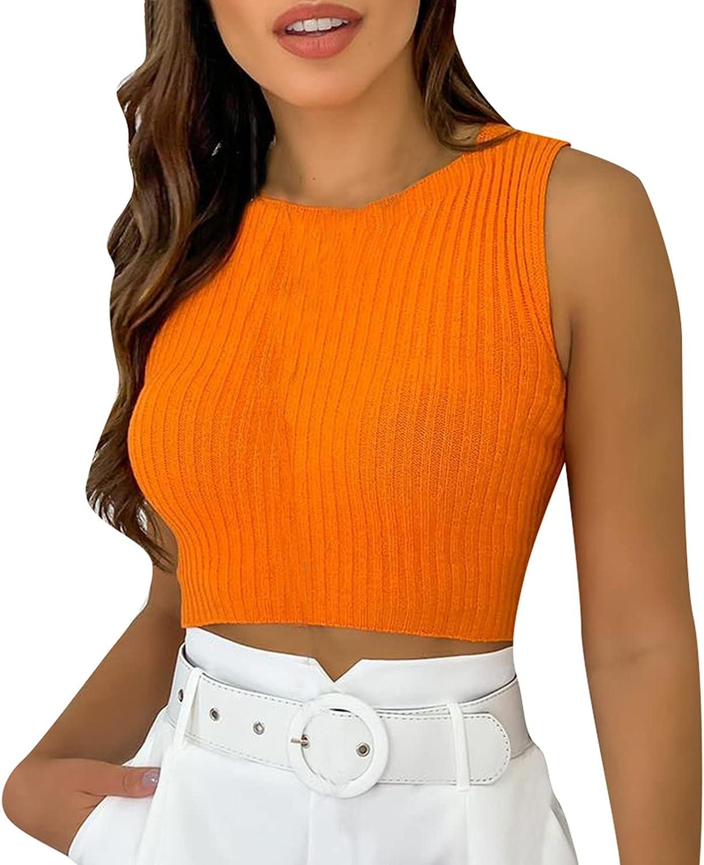 LINGERY Women's Summer Sexy Fashion Vest Round Neck Slim Solid Short T Shirt Blouse