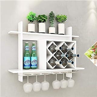 Estantería de Vino Sencillo Colgante de Pared Europeo Wine Rack Wine Cabinet Colgando Enrejado Rack Wine Rack Creativo Wall Rack Wine Grid Almacenamiento Rack (Color : White, Size : 80 * 58.5 * 20CM)