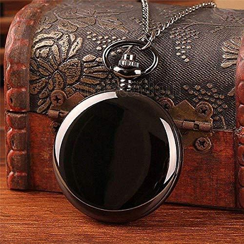 Relógio de bolso vintage com corrente preta, prata, algarismos romanos lisos, relógios de bolso, masculino e feminino, corrente grossa, estilo retrô, colar para presente retrô punk LATT