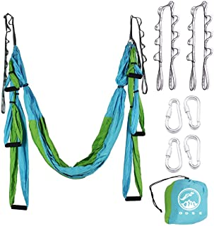ODSE Aerial Yoga Swing - Ultra Strong Antigravity Yoga Hammock/Sling/Inversion Tool for Air Yoga Inversion Exercises - 2 Extensions Straps Included (Blue & Green)