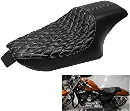 Rear Passenger Cushion Compatible with Harley Sportster Forty Eight Seventy Two 883 48 72 2004-2017(Vertical) GOOFIT Motorcycle Black Front Rider Solo Seat