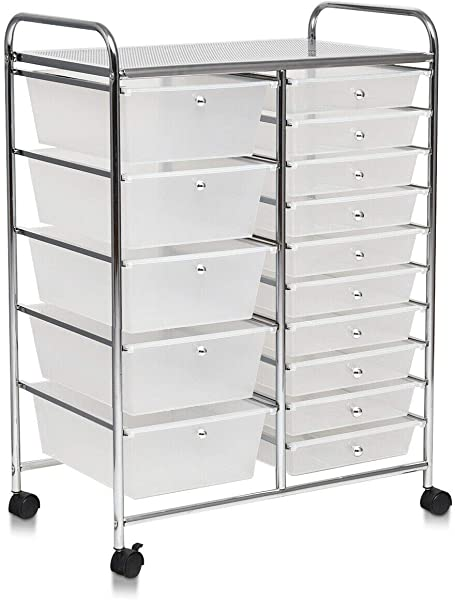Rolling 15 Drawer Storage Cart Tool Scrapbook Rack Home Office Cosmetics Paper Organizer With Ebook