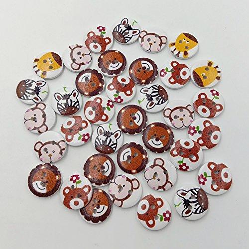 Botones Bodhi2000, 50 unidades DIY dibujos animados animales patrón 2 agujeros madera redondos botones para coser Scrapbooking Crafting Ornament arte DIY decoración