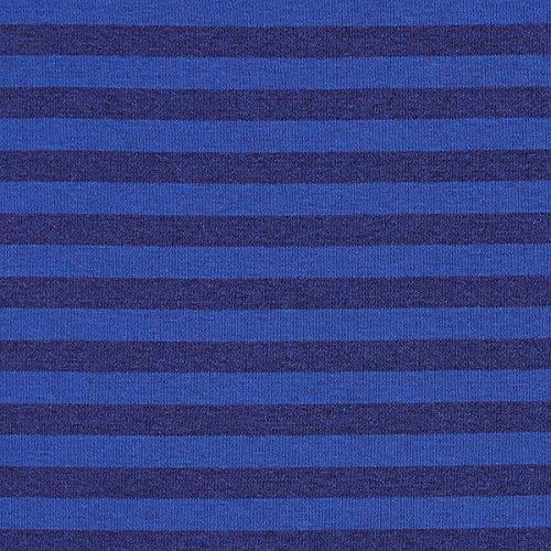 Fabulous Fabrics Sweatshirtstoff angeraut Streifen 10 mm – königsblau — Meterware ab 0,5m — Oeko-Tex Standard 100 Produktklasse I — zum Nähen von Sweatshirts, Hosen und Jacken