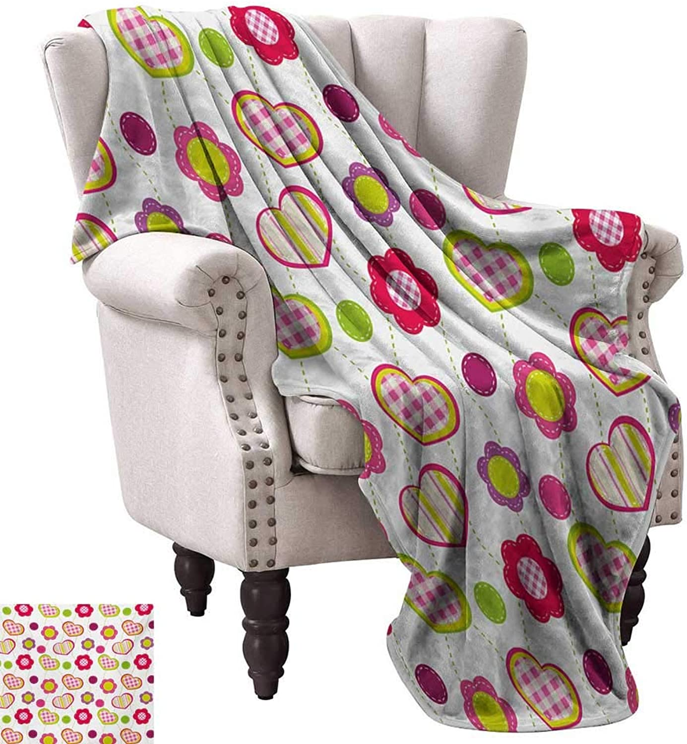 Kids Home Throw Blanket Patchwork Inspired Design colorful Patterned Flowers Hearts and Dots Retro Girlish Fall Winter Spring Living Room 60  Wx60 L Multicolor