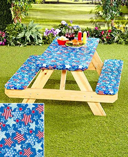 3Pc Picnic Table Covers Americana Stars 1 TAN