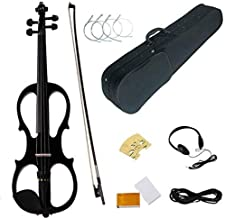 Electric Violin 4/4, Wood Full Size Musical Instrument with Rosin Headphone, Bow, Rosin, Extra Strings Kits, Gifts for Beg...
