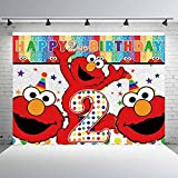 Elmo 2nd Happy Birthday Street Brick Wall Photo Backdrop Boy Girl 1st Birthday Party Photography Backgrounds Dessert Cake Table Decor 5x7ft