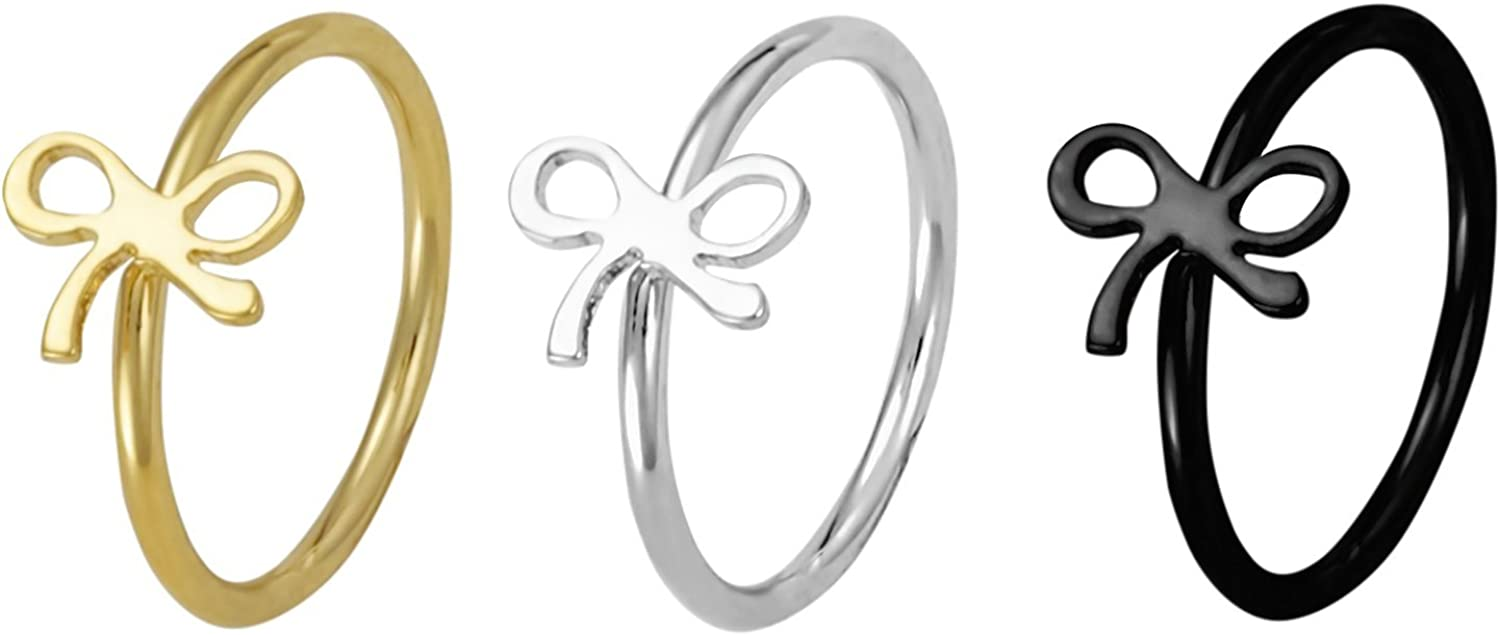 Forbidden Body Jewelry Set of 3 Nose Hoops or Cartilage Rings: 20g 8mm IP Plated Surgical Steel Bow Design Rings