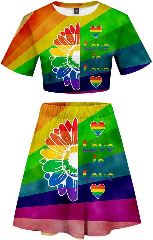 Honeystore Women's LGBT Print Crop San Antonio Mall Top Skirt Large special price Casual Sets 2 Piece
