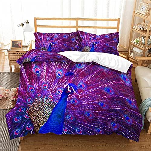 QDoodePoyer Bettwäsche-Sets 3 teilig Mikrofaser Lila Mode Tier Pfau Bettbezug Set 260x240cm Bettbezug mit Reißverschluss und 2 Kopfkissenbezug 80x80cm Weiche Bettwäscheset