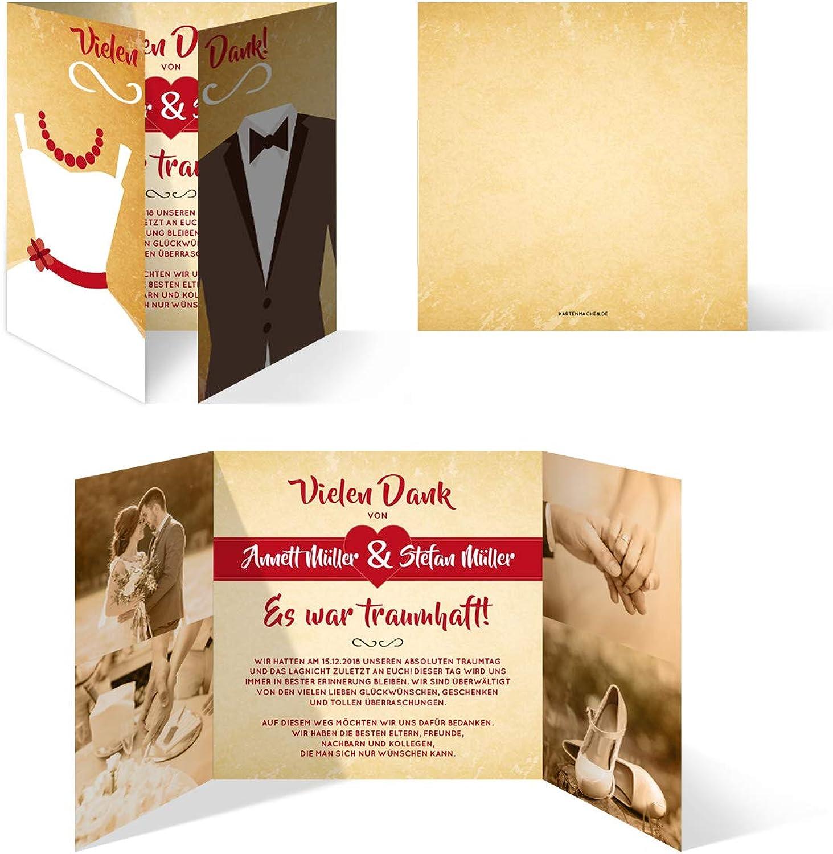40 x Hochzeit Dankeskarten individuell Foto Text - - - Braut und Bräutigam Altarfalz in Vintage B07JLXC6X1   Kompletter Spezifikationsbereich  cf967a
