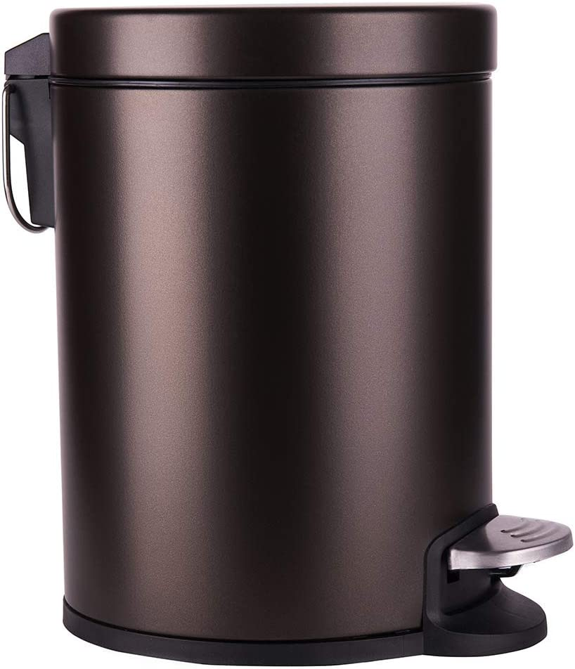 Round Bronze Slim Bathroom Trash Can with Max 74% OFF Inexpensive Close Soft Rem Lid and