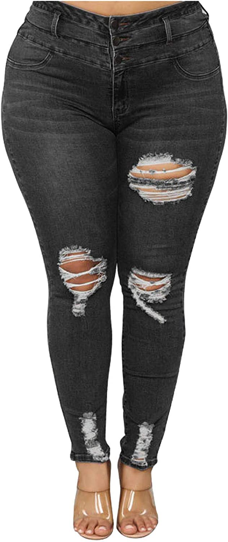 LONEA Women's High-Waist Slim Ripped Jean Stretch Denim Skinny 3 Button Jeans for Women Youth Girls