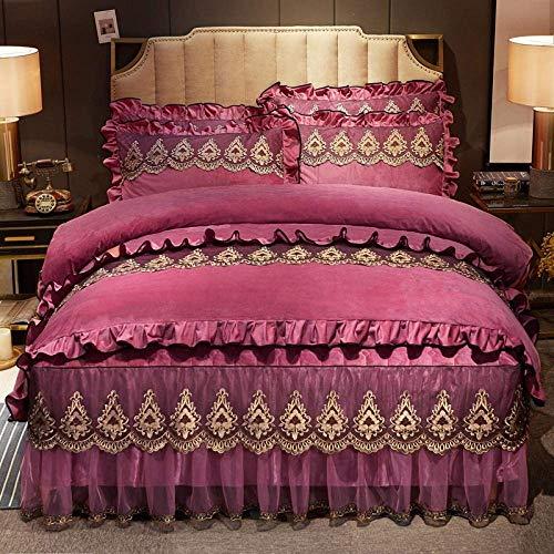 Textile Teddy Bear Fleece Duvet Cover,Soft Thicken Coral Fleece Bedding Set, Flannel Velvet Duvet Cover with Bed Sheet Pillowcases