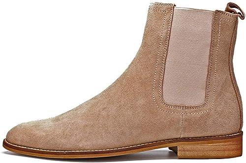 ZHRUI Comfort Chealsea Stiefel para Hombre Soft Sole Genuine Leather Comfort Durable Stiefel (Farbe   braun, tamaño   EU 47)
