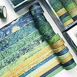 HvxMot Washi Tape Set Colorati, 12 Rotoli Washi Tapes Set, Washi Tapes Vintage Rotolo da 3m, con 1 Scatola, per Diario, Decorativo, Confezioni, Calendari (Larghezza 10mm, 15mm, 20mm, 30mm, Verde)
