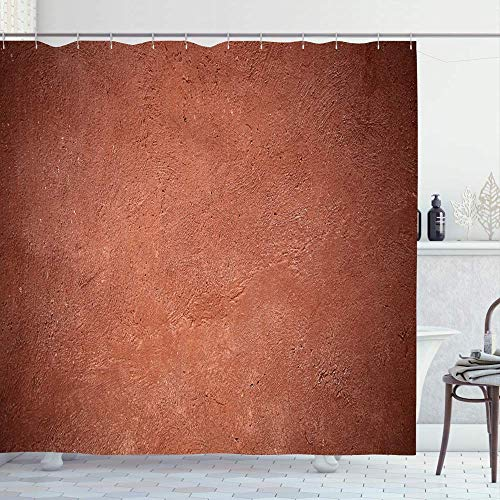 Badevorhang Shower Curtain 72x72 Sandstone Brown Concrete Facade Wall Red Terracotta Old Color Paint Rough Natural Mediterranean Waterproof Polyester Fabric Bathroom Bath Decor Set with Hooks