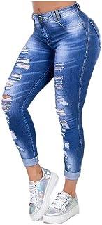 Nicellyer Women High Waist Ripped Hole Fashion Casual Boyfriend Denim Jeans