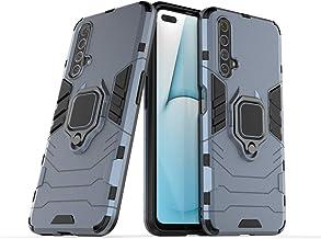 جراب Wuzixi لهاتف Realme X50 5G. قوي ومتين، مسند مدمج، مضاد للخدش، امتصاص الصدمات، متين، غطاء لهاتف Realme X50 5G. أزرق داكن