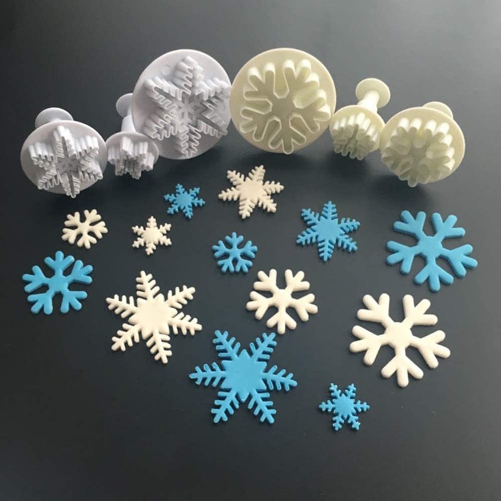NUOMI 6 Pieces Snowflake Fondant Press Cookie Cutters Plastic Embossing Mould Cake Decorating Tool Handmade Sugarcraft Baking Supply, White, 6 Different Shapes
