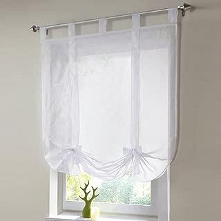 ChezMax Rod Pocket Adjustable Tie-up Drape Panel Voile Solid Roman Sheer Curtain 31